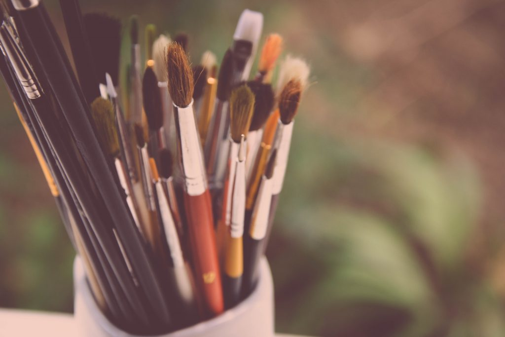 Cup of paintbrushes